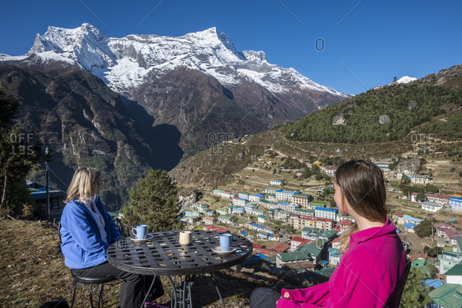 Namche is the main trading center and tourist hub for the Everest region seen here with  Kongde Ri peak a 6,187m mountain in the distance