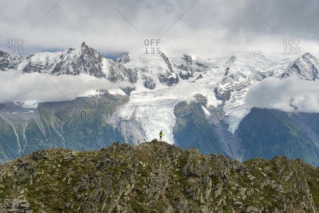 The GR5 trail or Grand Traverse des Alps near Refuge De Bellachat with views of the Mont Blanc Massif in the distance