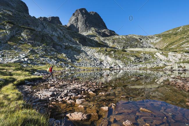 Hiking near next to Maliovitsa lakes in the Rila mountains