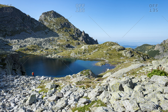 Hiking next to Elenino Lake near Maliovitsa in the Rila mountains