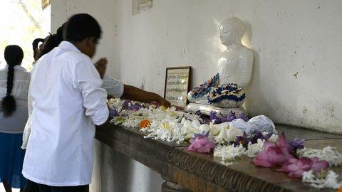 ANURADHAPURA, SRI LANKA - FEBRUARY 23, 2015: Pilgrims at Sri Maha Bodhi (sacred bodhi tree) in Anuradhapura, Sri Lanka.