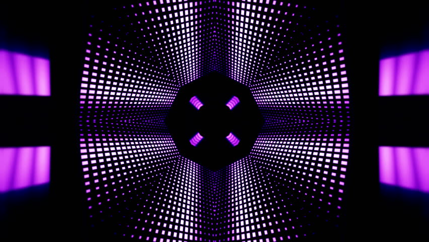 Background motion with fractal design purple kaleidoscope sequence patterns Disco spectrum lights concert spot bulb Abstract multicolored motion graphics background Seamless rotating loop mandala art