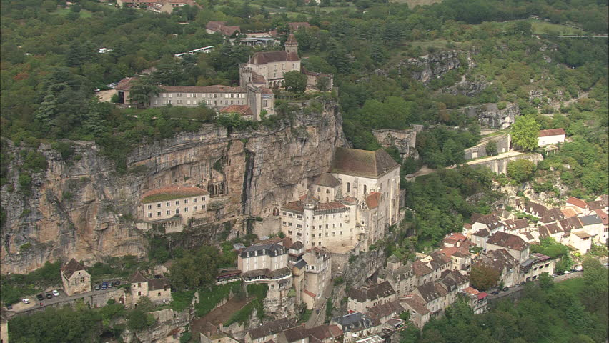 AERIAL France-Rocamadour 2006: Rocamadour and monastery built on cliff and steep valley | Shutterstock HD Video #10044815