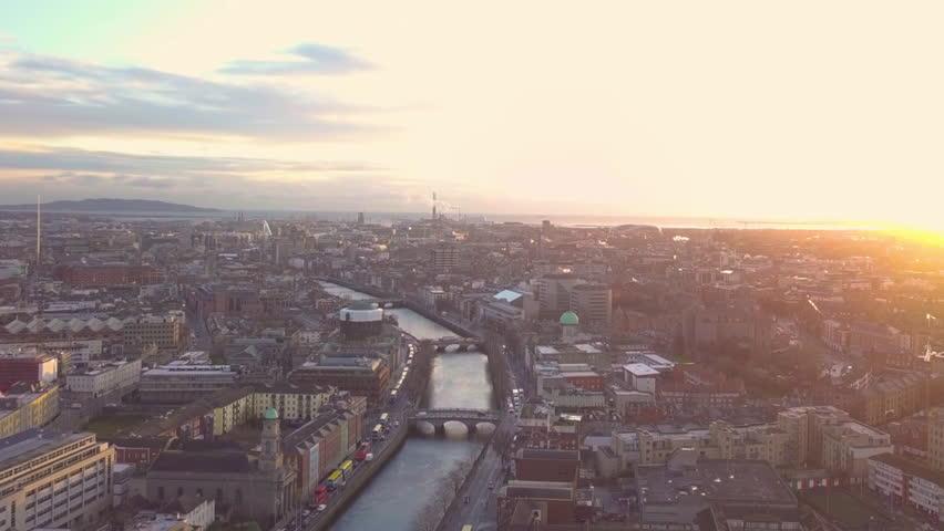 Dublin City Centre Sunrise Aerial - drone   Shutterstock HD Video #1005601849