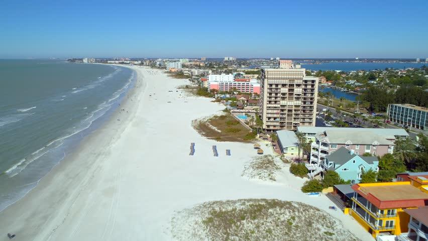 Aerial drone footage St Petersburg Beach Clearwater travel destination video