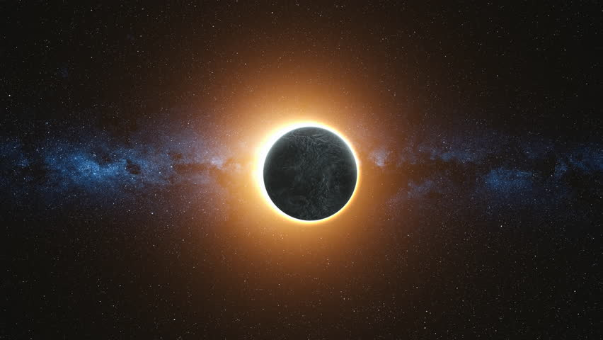 Full solar eclipse. The Moon mostly covers the visible Sun creating a gold diamond ring effect. Abstract scientific background. High detail 4k. 3D Render. Elements of this image furnished by NASA Royalty-Free Stock Footage #1005622684