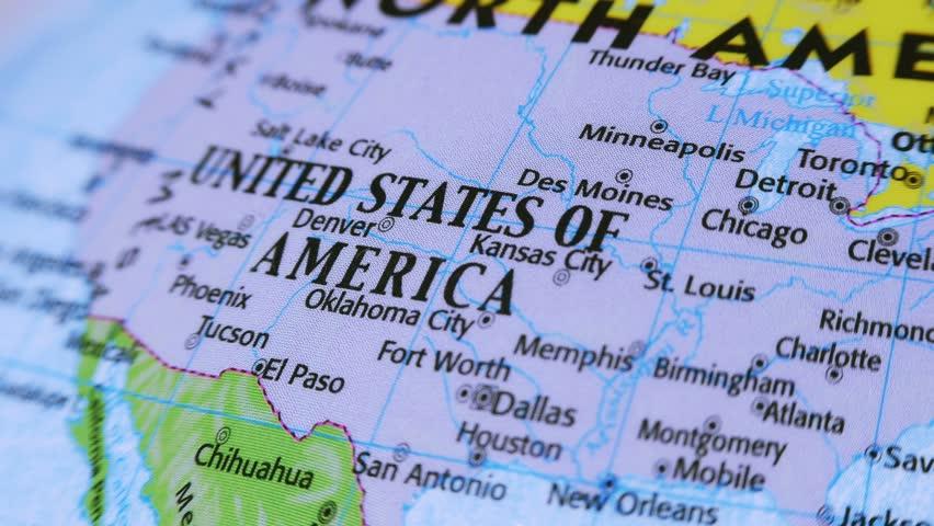 United States of America. Terrestrial Globe 4K Terrestrial globe rotates and stops at United States of America.