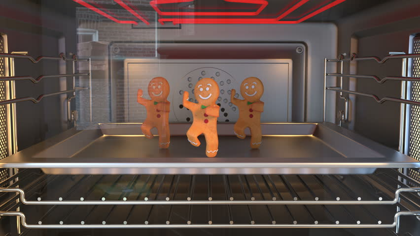 Gingerbread man Dancers. Cozy Light. 3D animation of funny, hot and sweet cookie boy dancing for holiday and kid event, show, VJ, party, music, website, banner, dvd