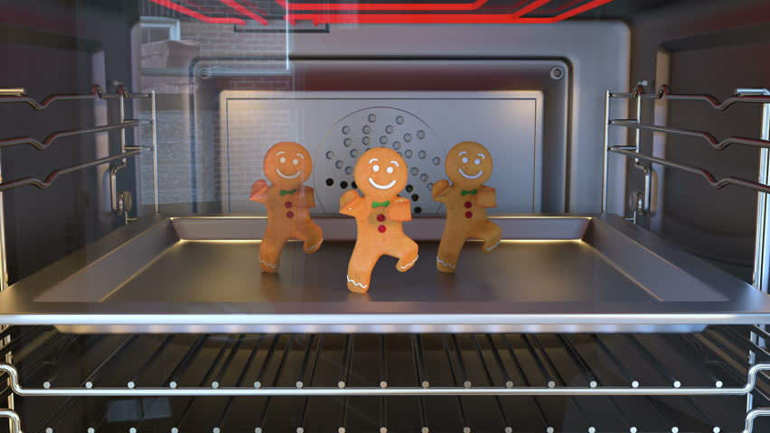 Gingerbread man Dancers. Daylight. 3D animation of funny, hot and sweet cookie boy dancing for holiday and kid event, show, VJ, party, music, website, banner, dvd