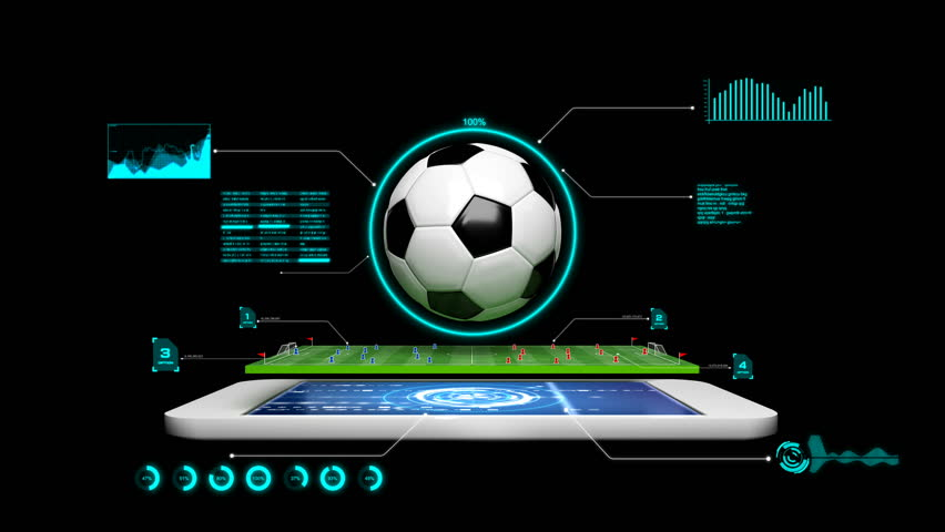4K 3D Animation soccer football field with spinning soccer ball with graph and hud and technology element and alpha matte for football mobile phone application concept
