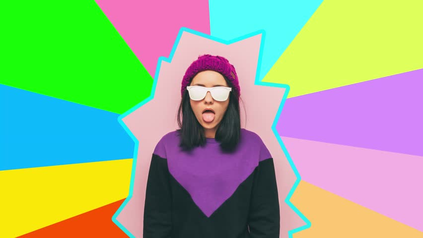 Girl shows her tongue. multicolor surrealism and minimal art