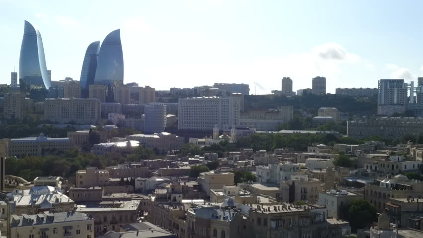Aerial view coastline of Baku with with numerous modern high-rise buildings.Baku is the capital and largest city of Azerbaijan.