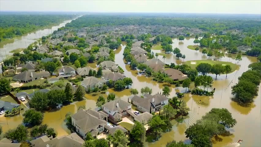 CIRCA 2010s - An aerial over the flooding and destruction in Houston from Hurricane Harvey.