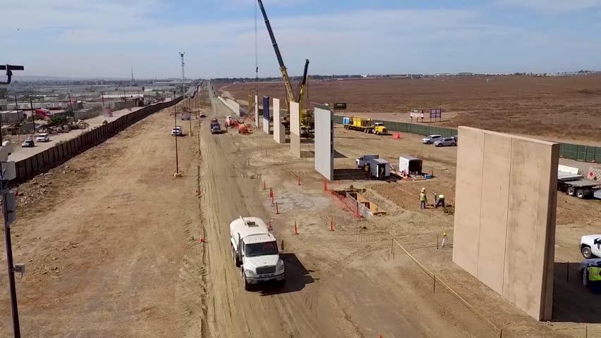 CIRCA 2010s - Aerial views of the Border Wall prototype construction near Otay Mesa, California.