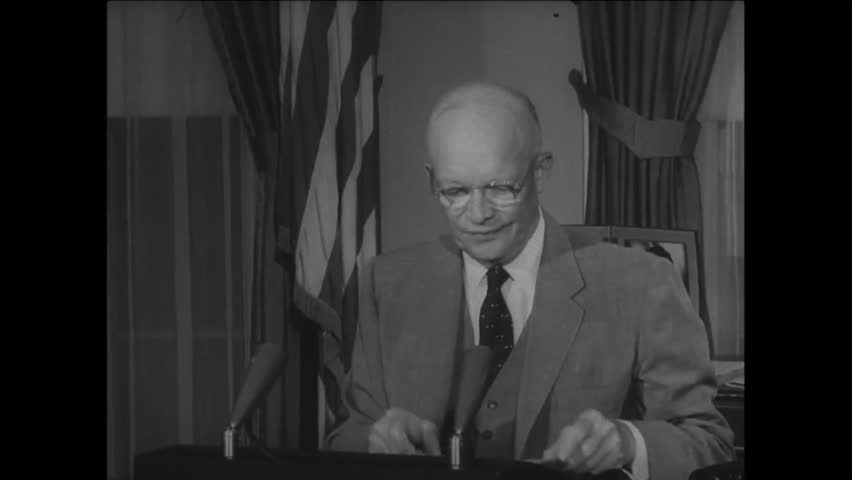 CIRCA 1957 - President Eisenhower leaves the Oval Office after giving a speech.