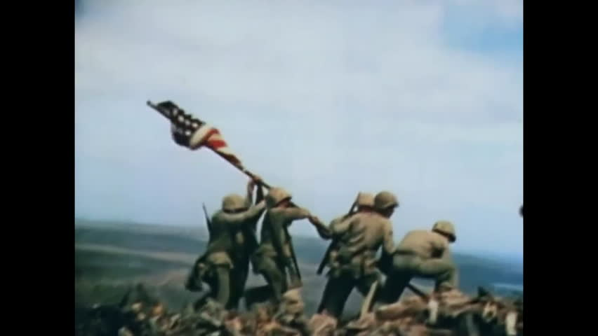 CIRCA 1945 - After the US Marines capture Mount Suribachi, supplies are brought onshore for the northward push on Iwo Jima.
