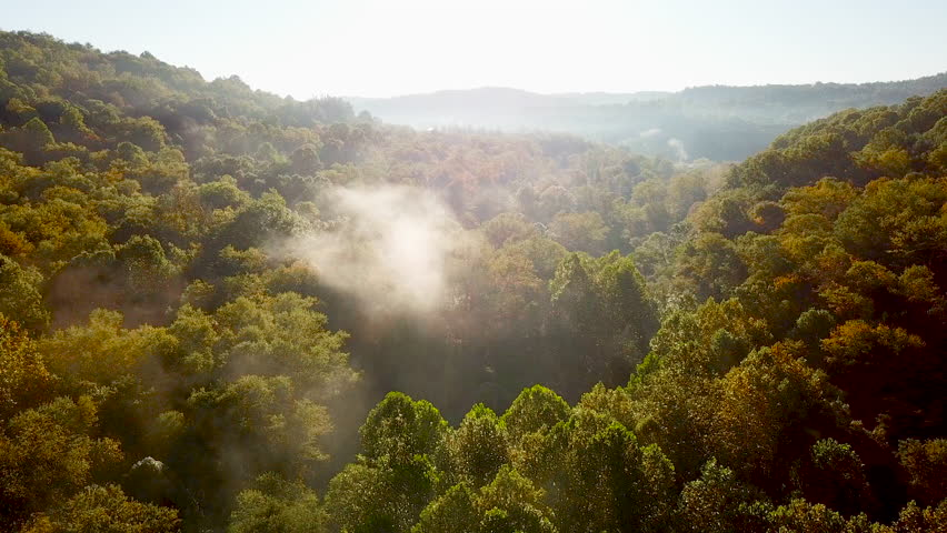 WEST VIRGINIA - CIRCA 2010s - Beautiful early morning aerial of fog in Appalachia West Virginia.