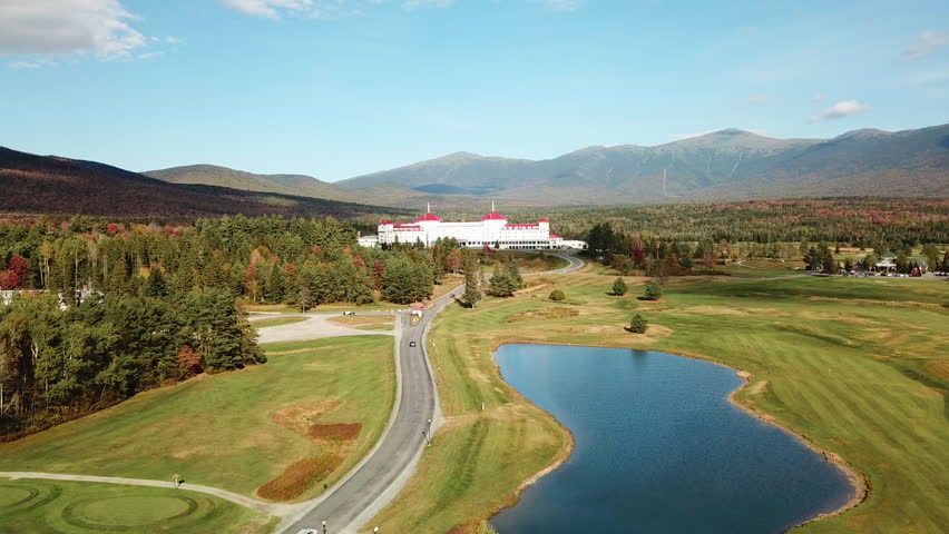 NEW HAMPSHIRE - CIRCA 2010s - An aerial over the imposing luxury hotel Mt. Washington resort lodge in New Hampshire.