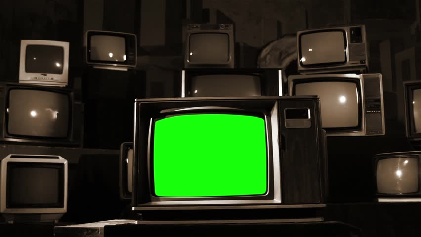 "Vintage TV with Green Screen. Sepia Tone.  Dolly Shot. You can Replace Green Screen with the Footage or Picture you Want with ""Keying"" effect in After Effects (check out tutorials on YouTube).  
