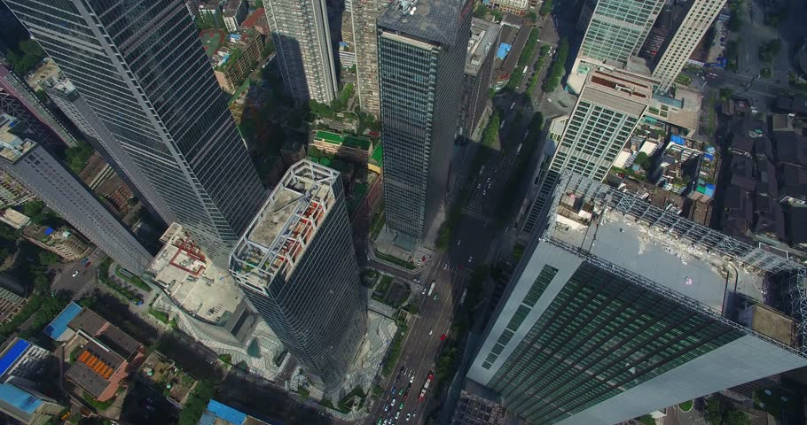 Chengdu, Sichuan China,July 27,2016:aerial view looking down from above of new office building in Chengdu Sichuan China #1006716925