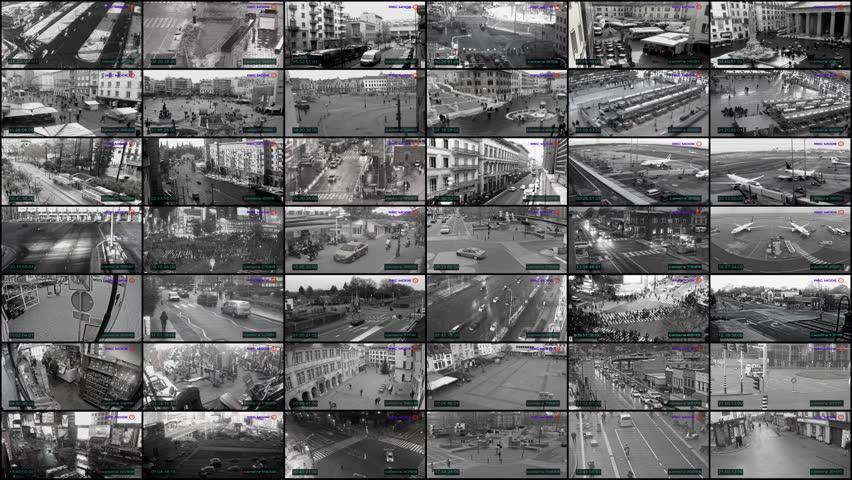 Big CCTV split screen, surveillance camera monitoring | Shutterstock HD Video #1006721764