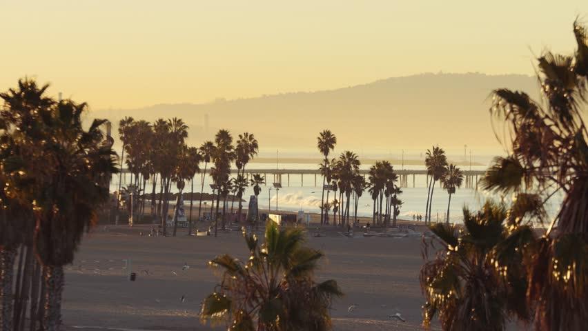 Venice Beach Skate Park & Pier at Sunrise, Aerial Shot, Los Angeles California