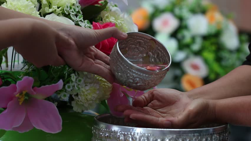 Songkran Thai festival, Thai people New Year celebration traditional way to celebrate with elders. Songkran is Thai New Year's festival that Day is 13 April every year and was traditionally,