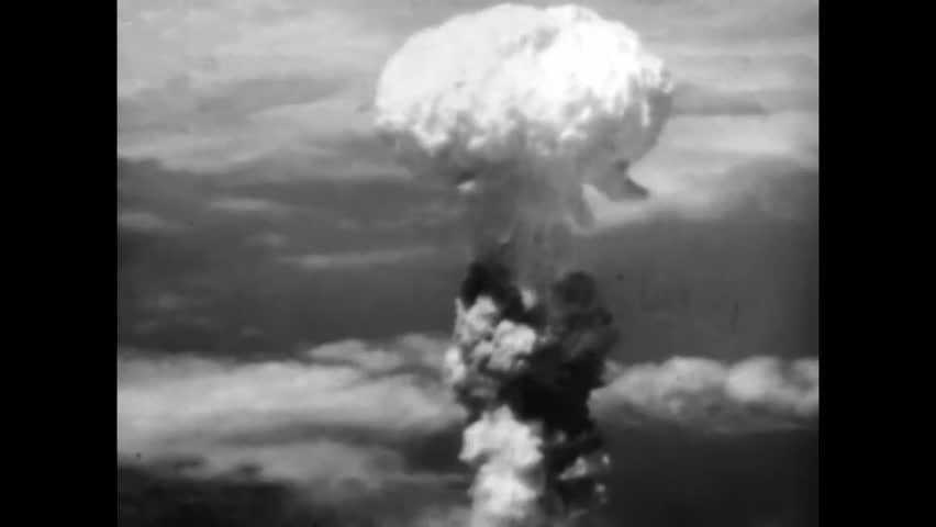 CIRCA 1940s - An atomic bomb is dropped on Nagasaki in 1945.