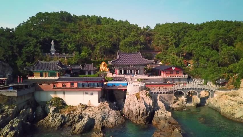 Haedong Yonggungsa Temple in Busan , South Korea. Arial view.   Shutterstock HD Video #1006758715