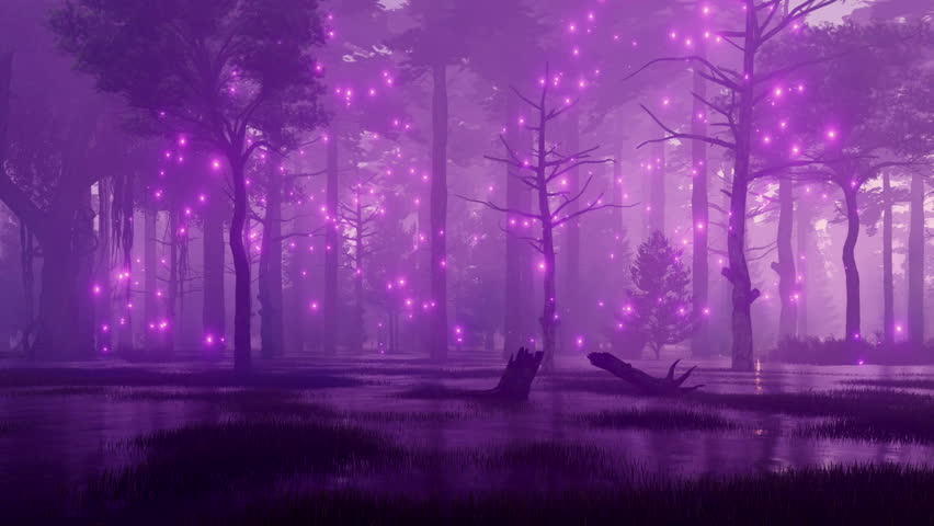 Mysterious night forest swamp with magical firefly lights flying in the air among creepy ancient trees. Fantasy 3D animation rendered in 4K