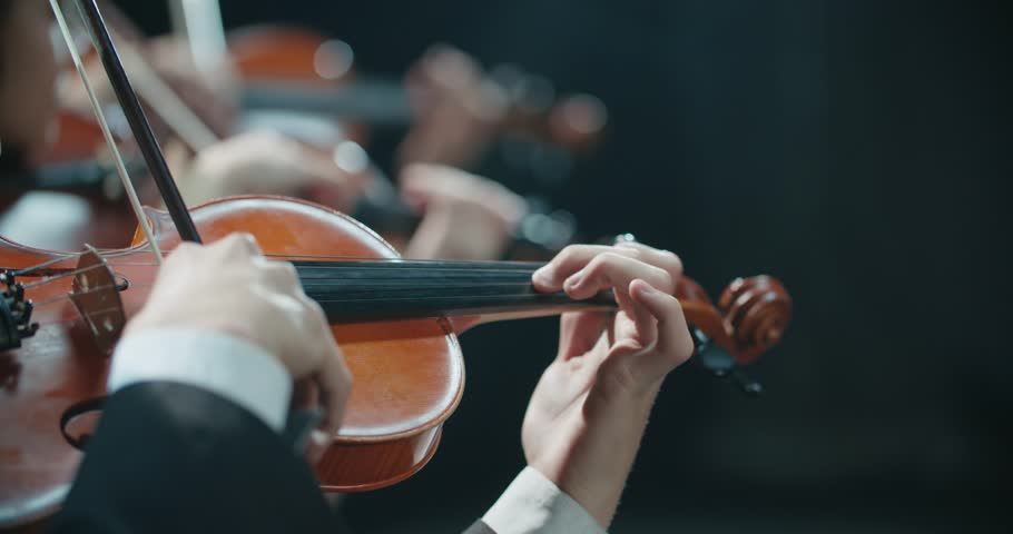 Symphony orchestra performance, stringed instruments detail shot | Shutterstock HD Video #1006776541