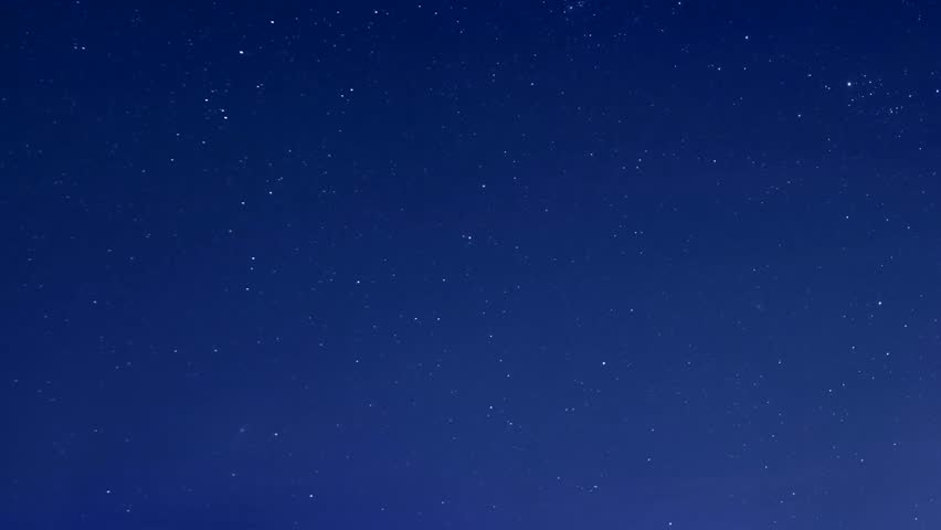 Starry blue night sky, star shine in skies horizon. Time Lapse Beautiful Starry Movement In The Night Sky, Starry night sky with meteor shower Milky Way moving in time lapse. 3840x2160. #1006790218