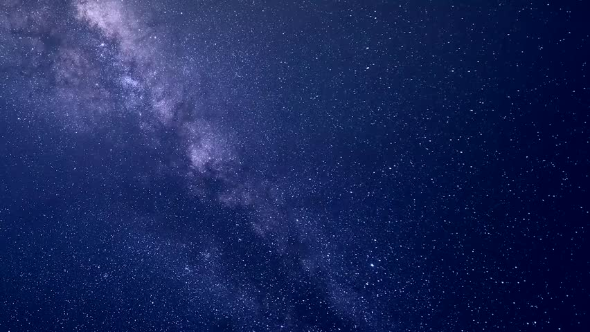 Milky way galaxy in starry clear blue night sky.  Perseid Meteor Shower, Universe galaxy milky way time lapse, nature blue, dark milky way. Timelapse stars and moon in mountain night sky, Ultra HD,4K #1006790272