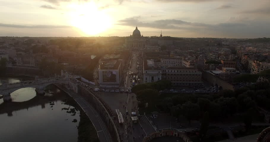 ROME, ITALY – OCTOBER 2015 : Aerial shot over central Rome at sunset with view of river Tiber, Vatican City and Castel Sant'Angelo | Shutterstock HD Video #1006794085