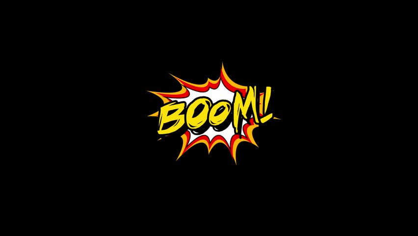 Comic strip speech bubble cartoon animation, with the words boom. Yellow text, white shape, Alpha channel