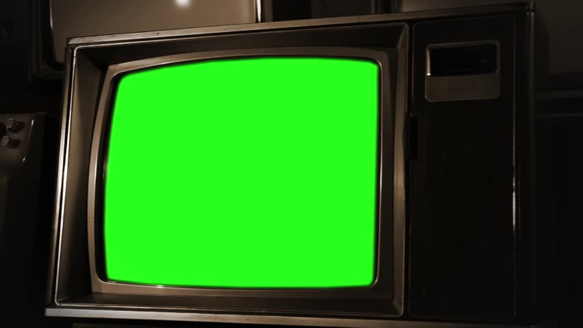 "Vintage TV Green Screen in Sepia Color. You can replace green screen with the footage or picture you want with ""Keying"" (Chroma Key) effect in Adobe After Effects or other video editing software."