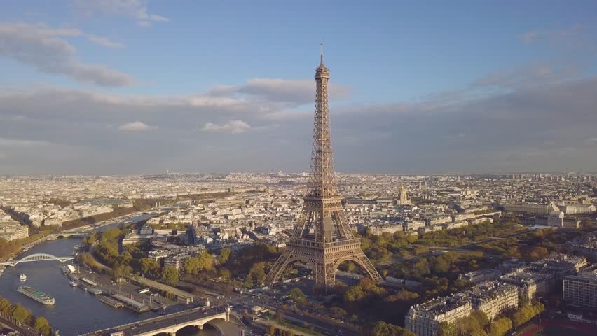Cityscape of Paris. Aerial view of Eiffel tower in sunny day