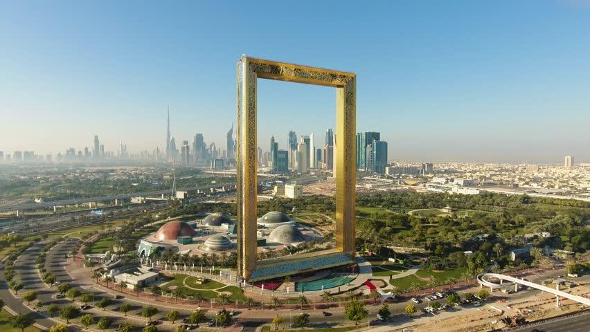 Dubai, UAE - January 11, 2018: Dubai Frame Aerial View 2