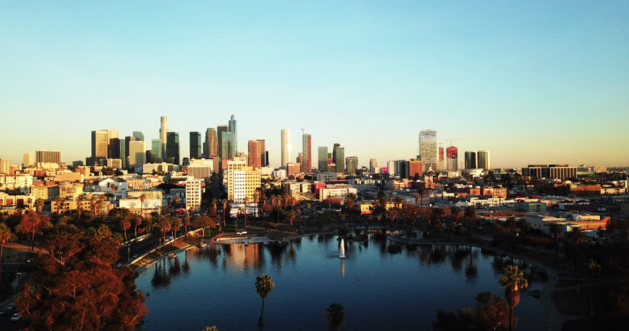 Aerial video of Los Angeles Skyline | Shutterstock HD Video #1006833292
