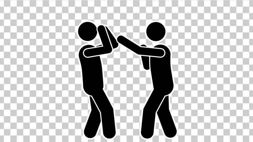 Black Cartoon Stick Figure Boxing. Alpha Matte | Shutterstock HD Video #1006841080