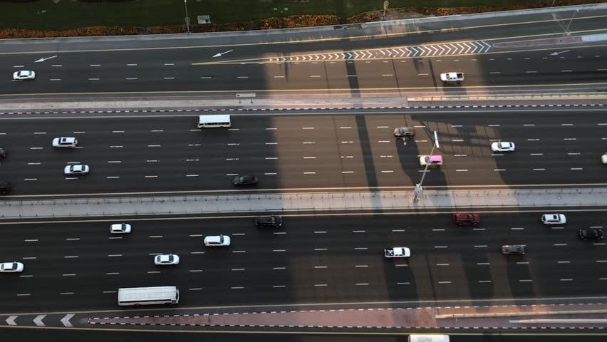 Birds Eye View Of Busy Highway Street At Sunrise In Dubai   Shutterstock HD Video #1006857295