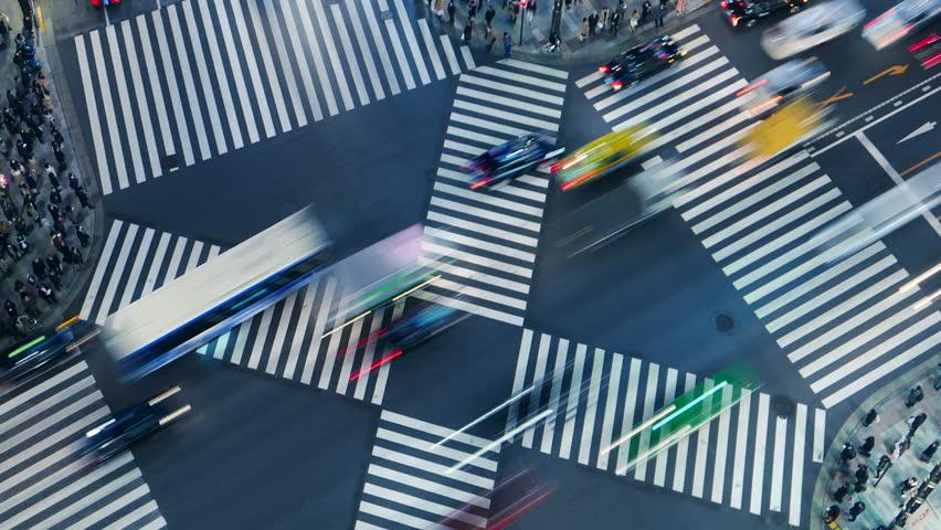 Tokyo city scenery night scene scramble intersection intersection overlooking