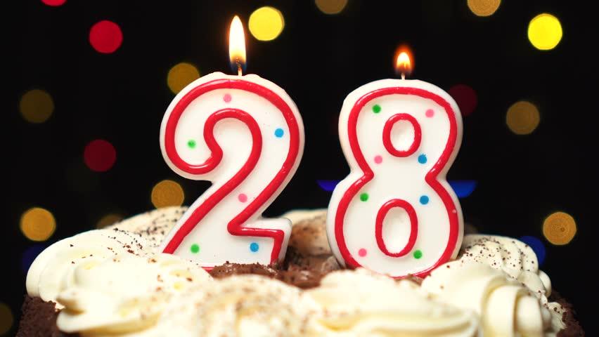 Admirable Number 28 On Top Of Cake Twenty Eight Birthday Candle Burning Birthday Cards Printable Giouspongecafe Filternl