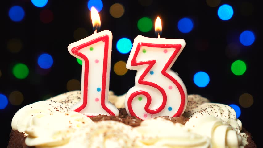 Remarkable Number 13 On Top Of Cake Thirteen Birthday Candle Burning Personalised Birthday Cards Veneteletsinfo