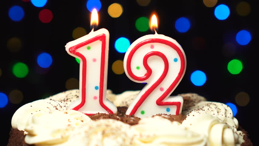 Admirable Number 12 On Top Of Cake Twelve Birthday Candle Burning Blow Funny Birthday Cards Online Overcheapnameinfo