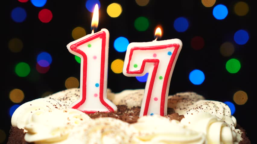 Super Number 17 On Top Of Cake Seventeen Birthday Candle Burning Funny Birthday Cards Online Alyptdamsfinfo