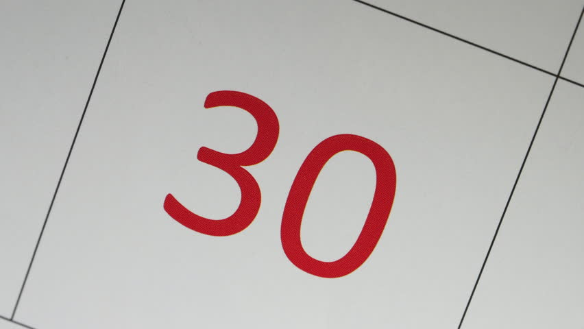 The Blue Marker Circled 30th Red Date On The Calendar | Shutterstock HD Video #1006879555