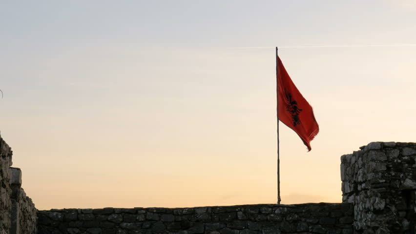 Shot from Rozafa Castle in Shkodër, Albania, dark flag | Shutterstock HD Video #1006896727