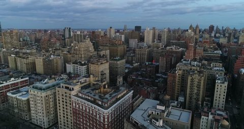 Aerial drone footage of the Upper West Side, New York City. The shot includes residential buildings along Riverside Drive. Nov 2017