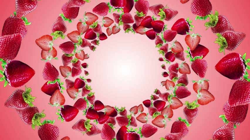 Falling Strawberries Ring Background, Loop, with Alpha Channel, 4k
